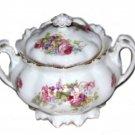 Vintage MZ Austria Porcelain Sugar Bowl White Gold Floral