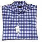 Banana Republic Dress Shirt Grant Fit Extra Slim Blue Gray White Checkered Men's Size Medium