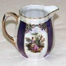 Small Vintage Barvaria Porcelain Creamer Pitcher White Purple Gold