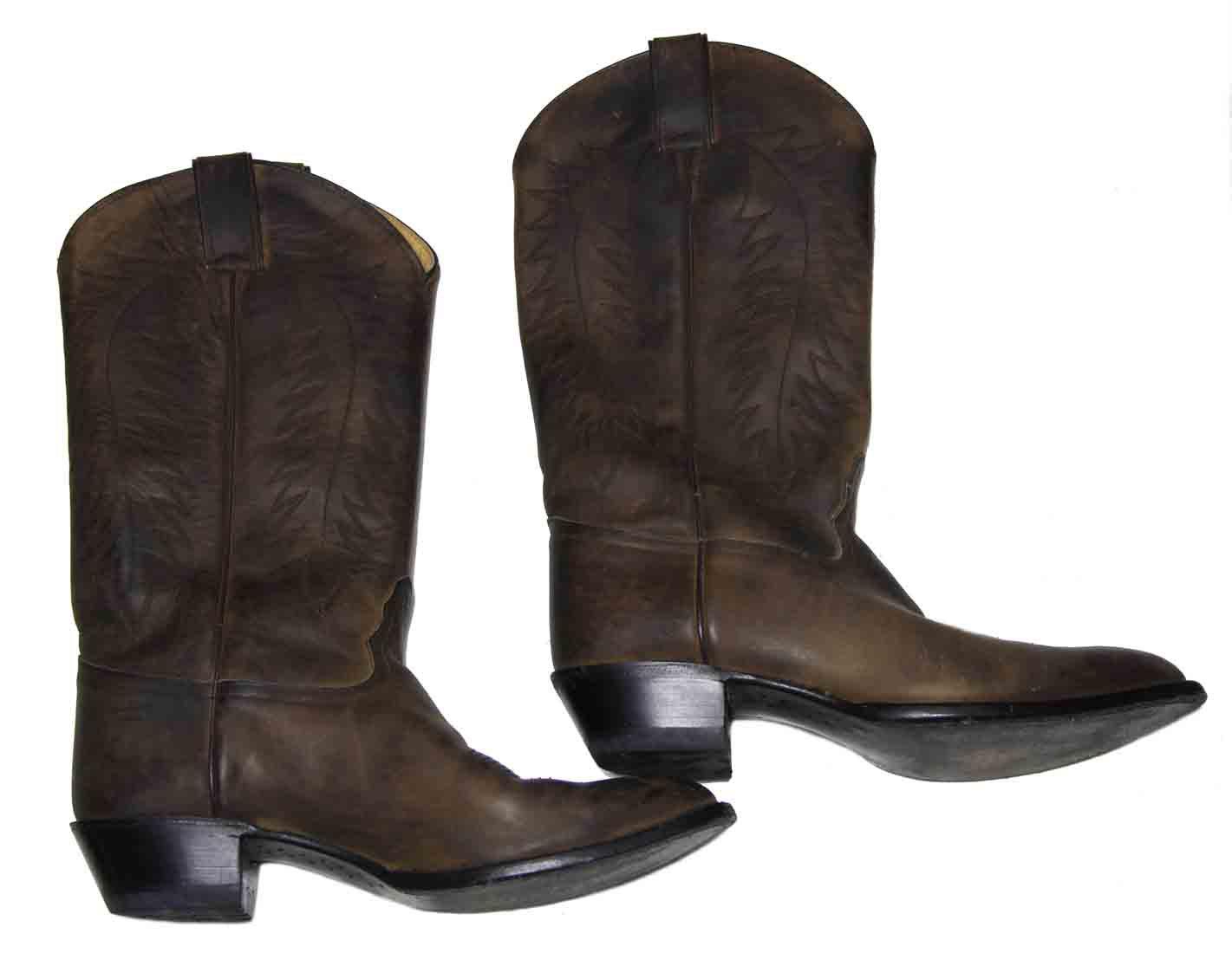 Vintage Tony Lama Cowboy Boots Leather Brown Men's Size 10B EXTRA NARROW