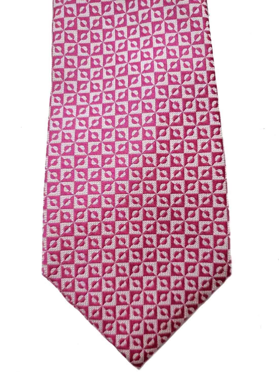Ralph Lauren Silk Tie Pink White Geometric Hand Made Men's