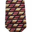 Vintage L'Atelier Tie Silk Abstract Geometric Brown Cream Red Men's