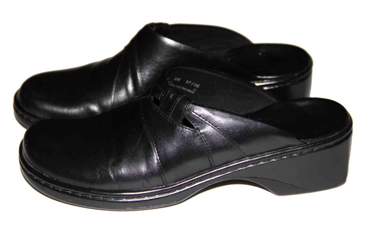 Clarks Leather Clogs Shoes Black Women's Size 6M