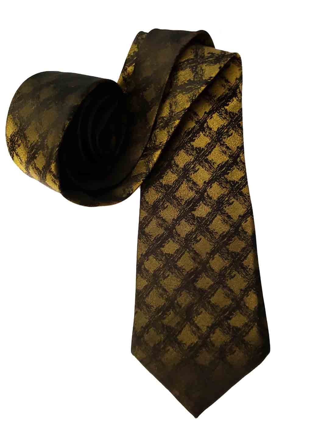 Vintage 1960s Silk Tie Golden Olive Black Lattice Pattern Men's