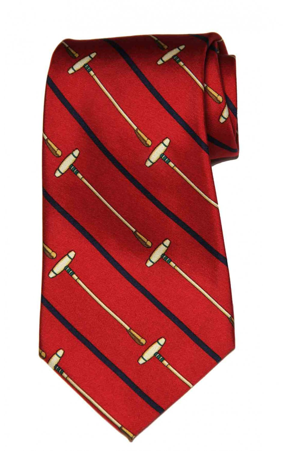 Vintage Polo by Ralph Lauren Tie Red Black Tan Silk Polo Mallets Striped Men's