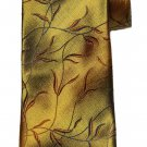 Bugatchi Italian Silk Tie Gold Orange Black Long Leaf Branch Pattern Men's