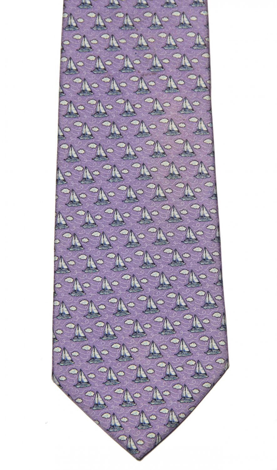 Vineyard Vines Tie Silk Purple Blue White Sailboats Men's