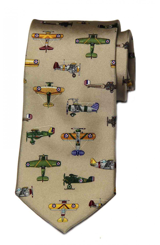 Vintage Alynn Tie Tan Colorful Warplanes Silk 1980s Men's