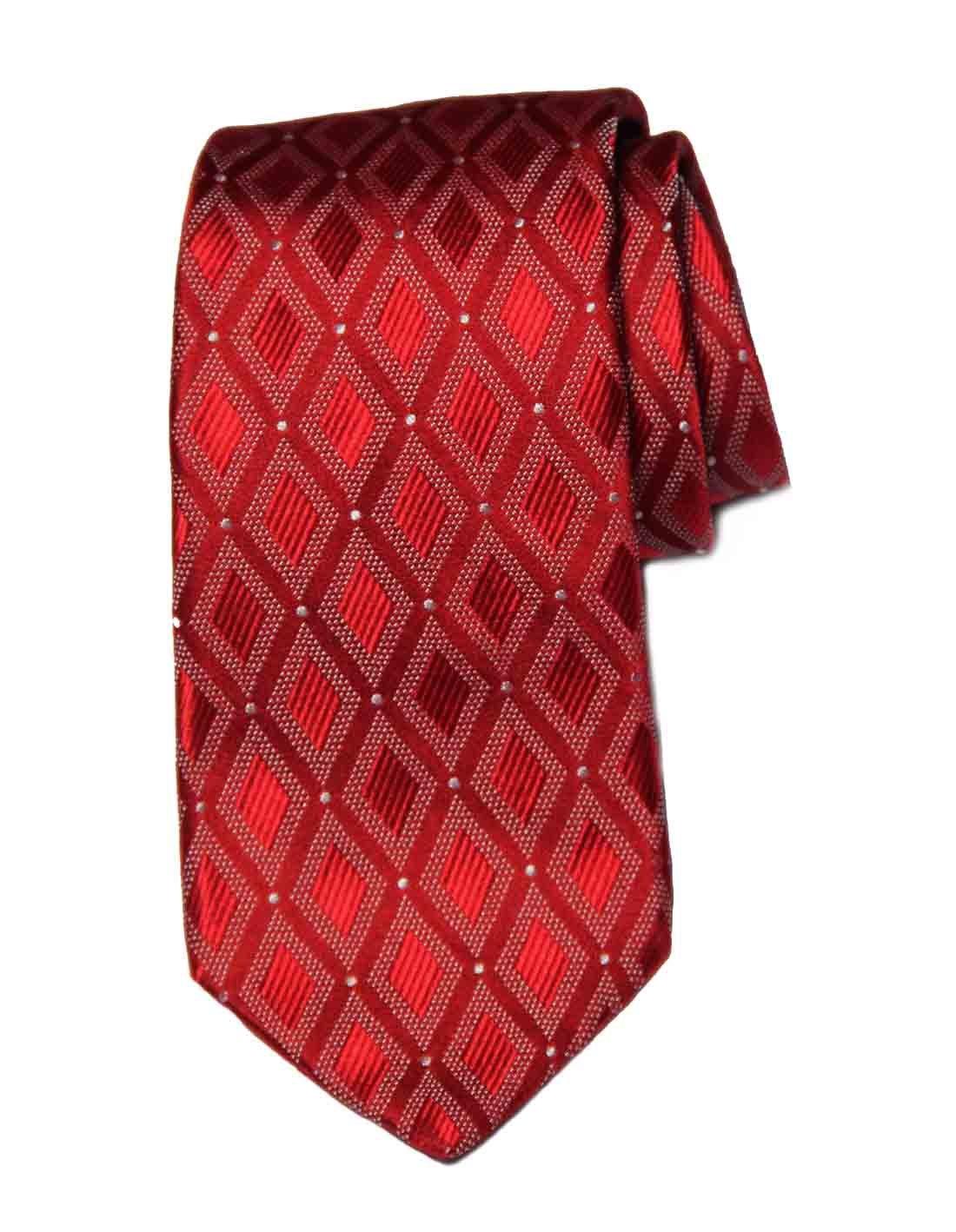 Ike Behar Tie Red White Geometric Pattern Silk Men's Long