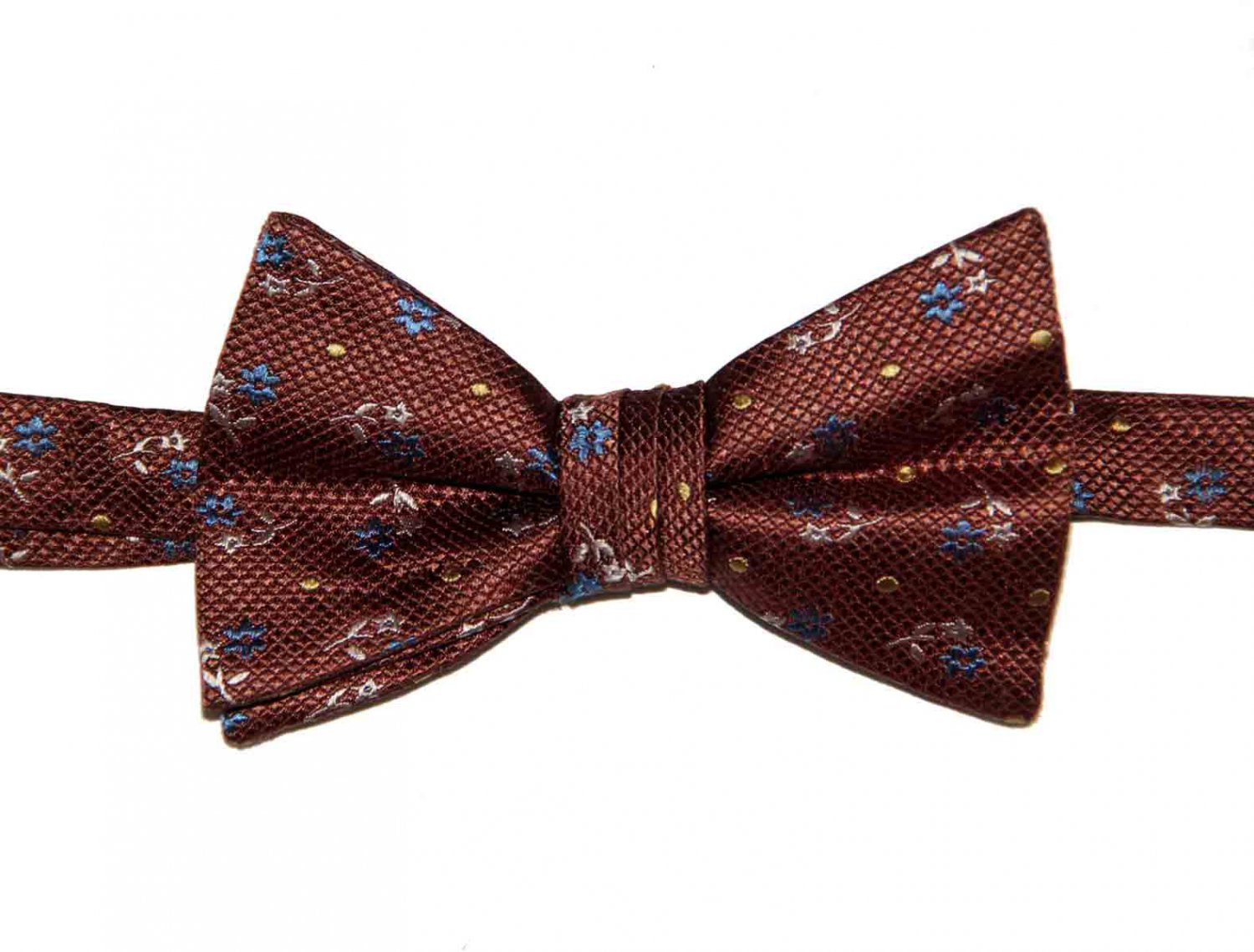 Zara Bow Tie Brown Blue Yellow White Silk Floral Pre-Tied One Size Adjustable Men's