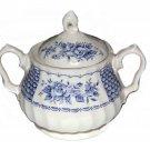 Vintage Myott Melody Fine Ironstone England Sugar Bowl Blue White Floral