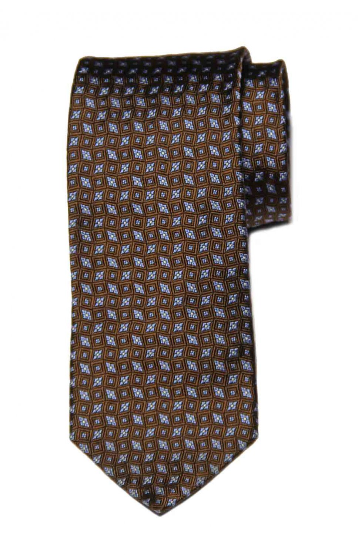 Brooks Brothers Italian Silk Tie Brown Blue White Geometric Men's Long