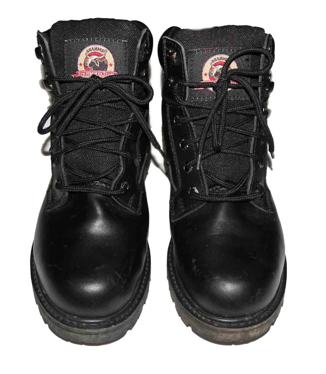 Brahma Gus Steel Toe Work Boots Black Leather Men's Size 8.5W