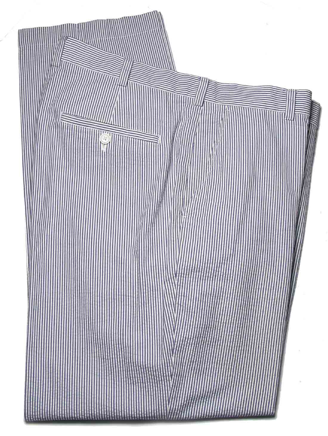 Brooks Brothers Seersucker Pants Blue White Striped Clark Straight Fit Men's Size 38 X 32