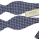 Thomas Pink Bow Tie Clouds Navy Blue White Pink Italian Silk One Size Fits All