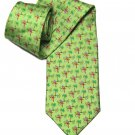 Vintage Jos A Bank Silk Tie Bright Green Parrots and Palm Trees Pattern Men's Long