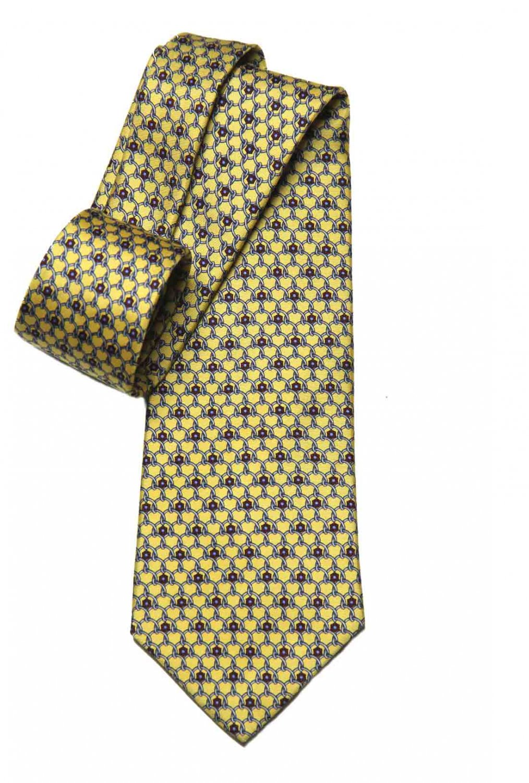 Vintage Brooks Brothers Brooks Basics Tie Silk Yellow Blue Red Interlocking Rings Men's