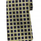 Brooks Brothers English Silk Tie Geometric Pattern Navy Blue Yellow White Men's