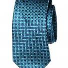 Stafford Silk Tie Teal Navy Blue White Geometric Men's