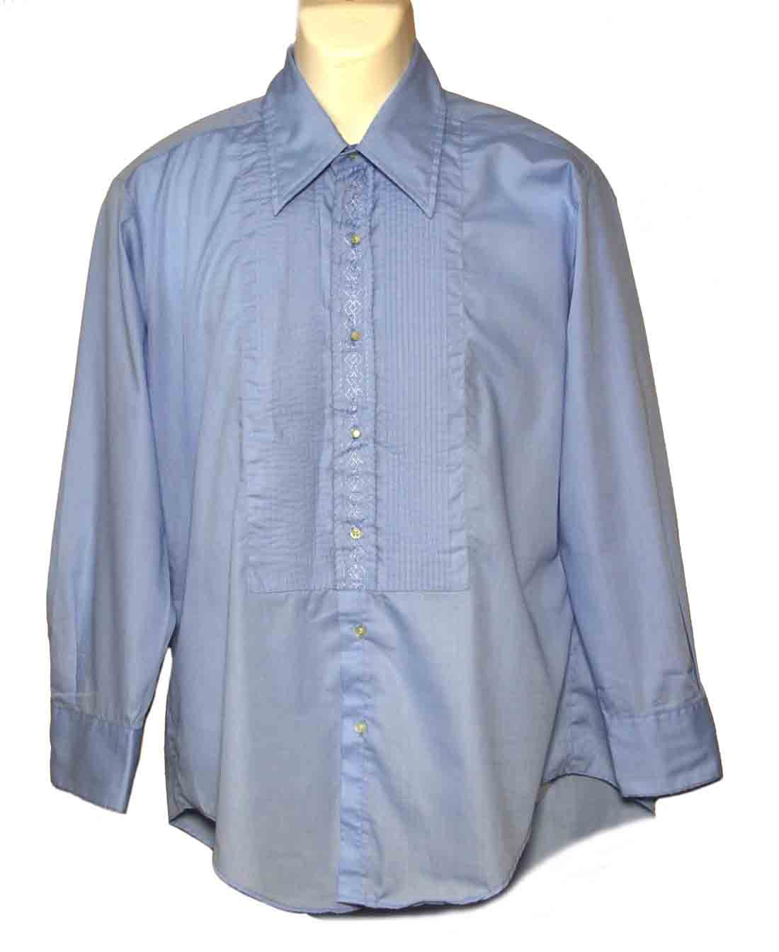 Vintage 1970s After Six Tuxedo Shirt Blue Embroidered Men's Size 16 X 32