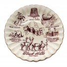 Vintage 1980s Black Hills South Dakota Collectible Plate White Red Gold Western Salad Dessert
