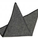 Gascoigne Pocket Square Gray Black Wool Herringbone Men's