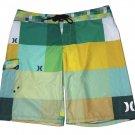 Hurley Swim Trunks Board Shorts Yellow Green Geometric Men's Size 36