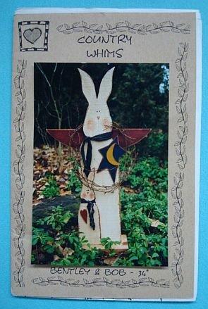 """Bentley & Bob 34"""" Tall Wood Painted Rabbits Pattern"""
