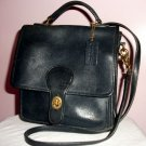 NAVY COACH SHOULDER BAG WITH HANDLE