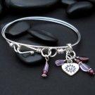 happy face heart charm double bangle sterling silver bracelet