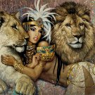 Sexy Indian Girl Male Lion and Lioness painting