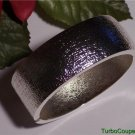 Hot in Hollywood ~ Bold Textured Clamper Bangle Bracelet New Silvertone