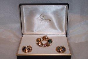 Vintage Sarah Coventry Flowered Circle Demi Set ~ Real Gemstones & Pearls
