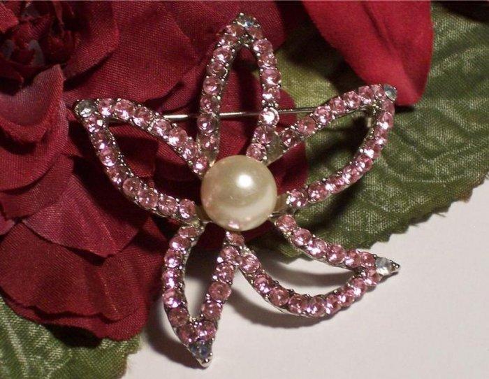 Pink & AB Rhinestones Silvertone Figural Starfish Star Brooch Mint!