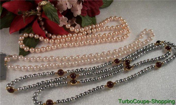 Vintage Set of 3 Faux Pearl Necklaces Pink, Blush, & Platinum Grey
