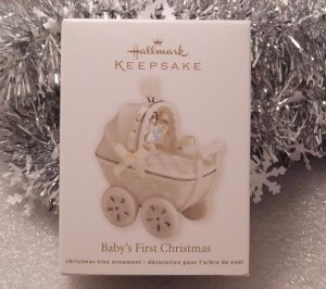 2011 Hallmark Baby's First 1st Christmas Porcelain Carriage Ornament New
