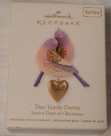 2012 Hallmark Two 2 Turtle Doves Pear Tree Twelve Days of Christmas 2nd Series Ornament New