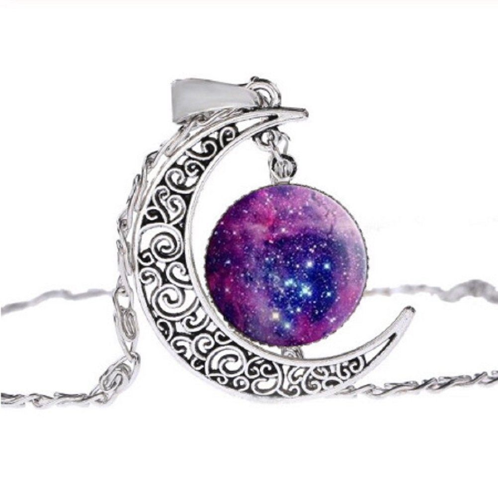 Silver Moon Astronomy Round Glass Pendant Necklace