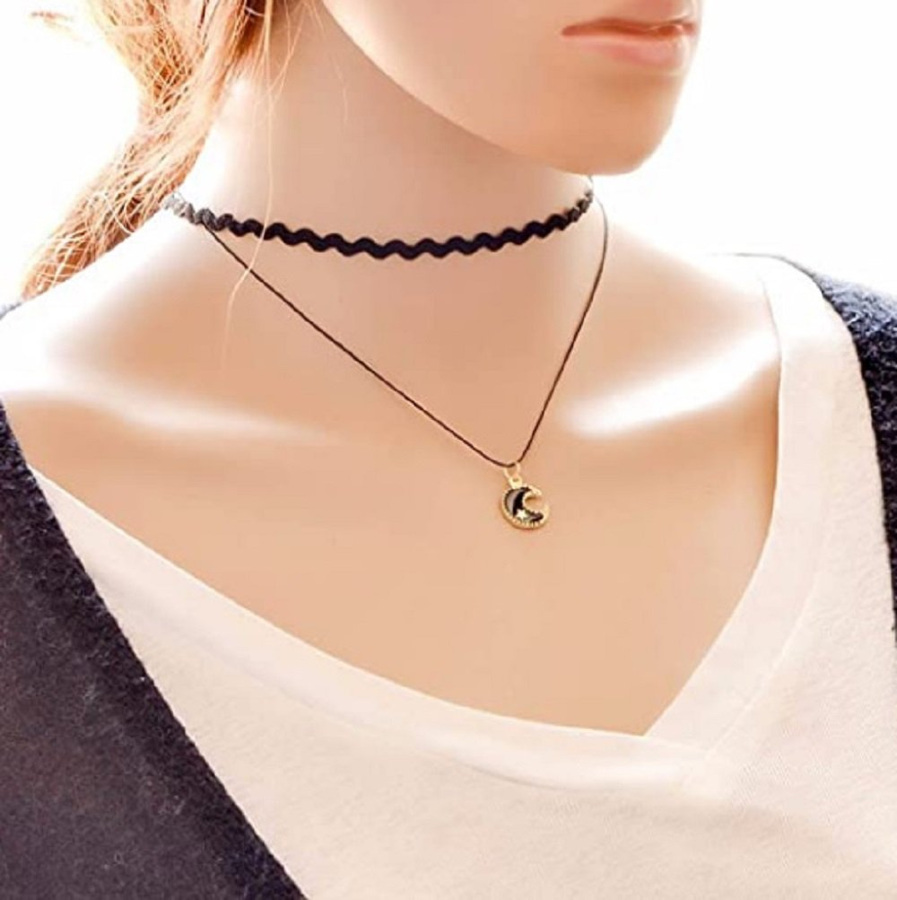 Black Lace + Pu Leather Rope with Moon Charm Double Choker Necklace