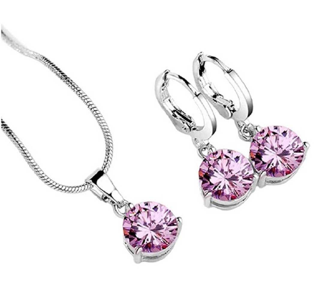 Silver Pink Round CZ Hypoallergenic Necklace and Earrings Set