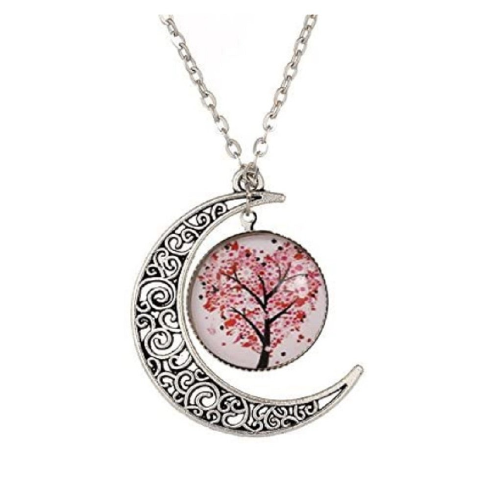 Silver Simili Watch Style Moon Glass Cabochon Statement Pendant Necklace