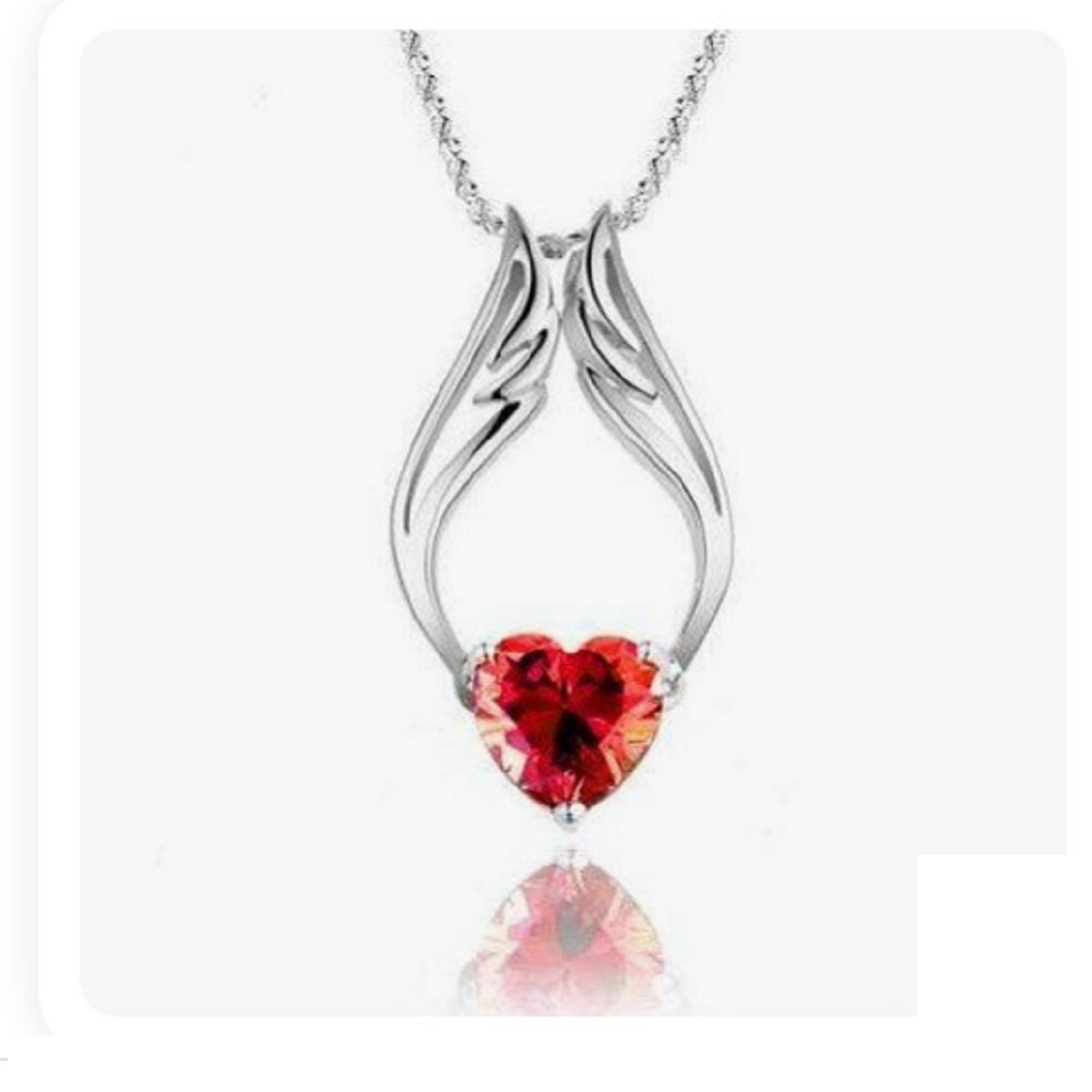 Silver Plated Red Crystal Sweet Heart Angel Wings Pendant Necklace