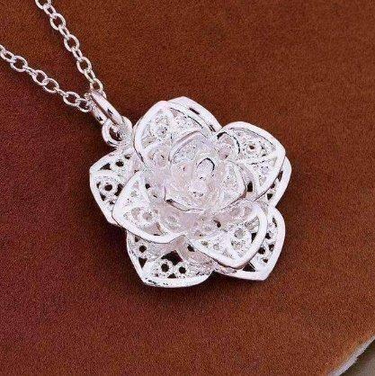 925 Silver Flower Pendant Necklace