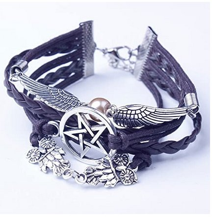 Wings Sign Pearl Bracelet Bangle Charm Cuff