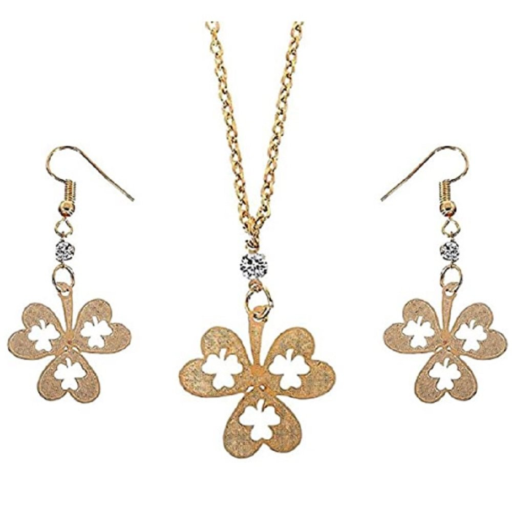 Gold plated Leaf Clover Pendant Necklace and Earrings Set
