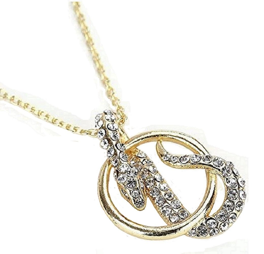 Gold Clear Crystal Snake Pendant Necklace