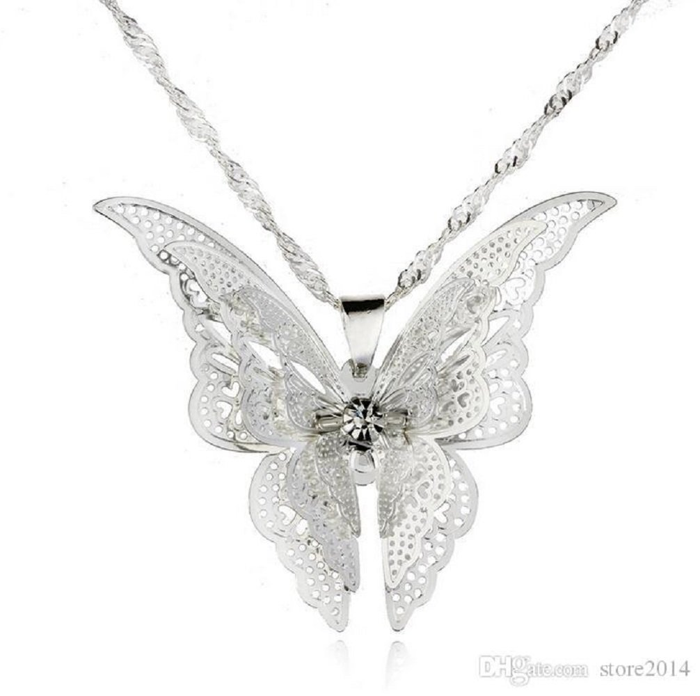 Silver Hollow Butterfly Pendant Necklace