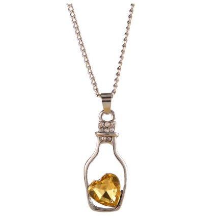 Silver Yellow Crystal Drift Bottles Pendant Necklace