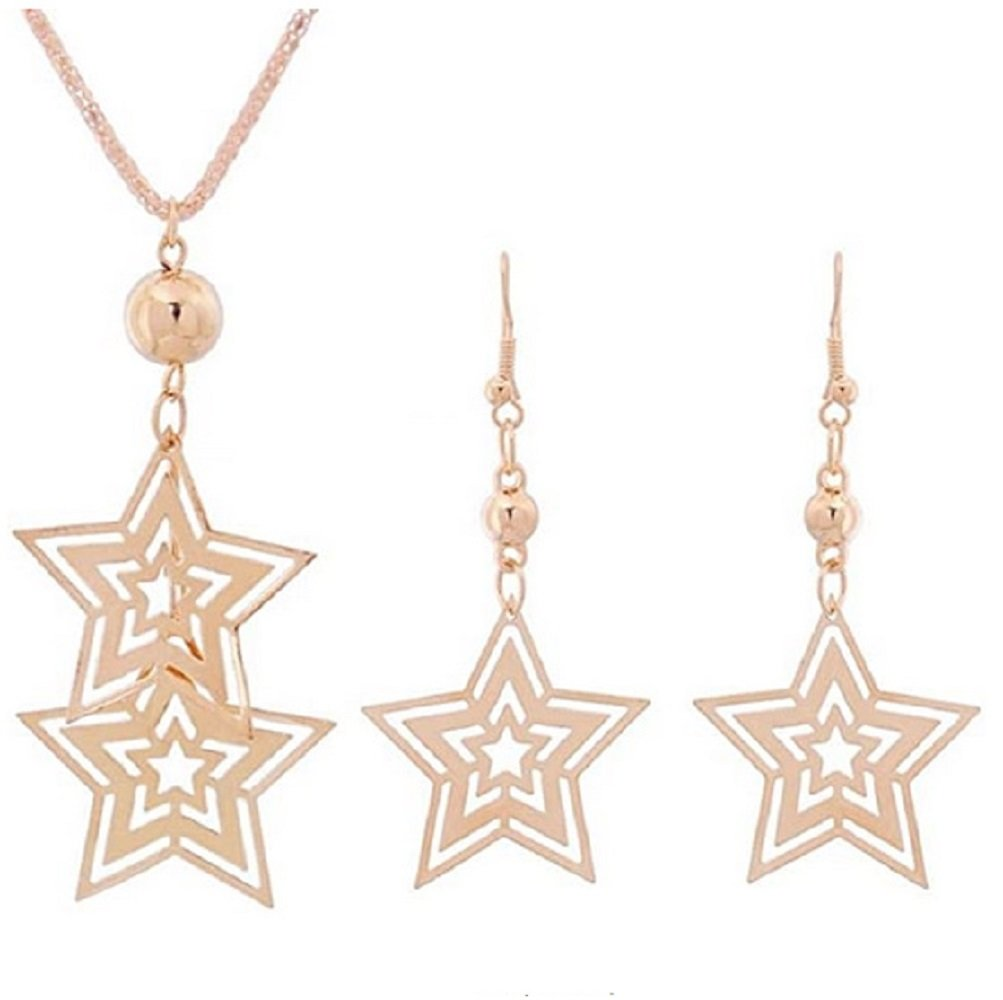 18K Gold Hollow Star Drop Pendant Necklace and Earring Set