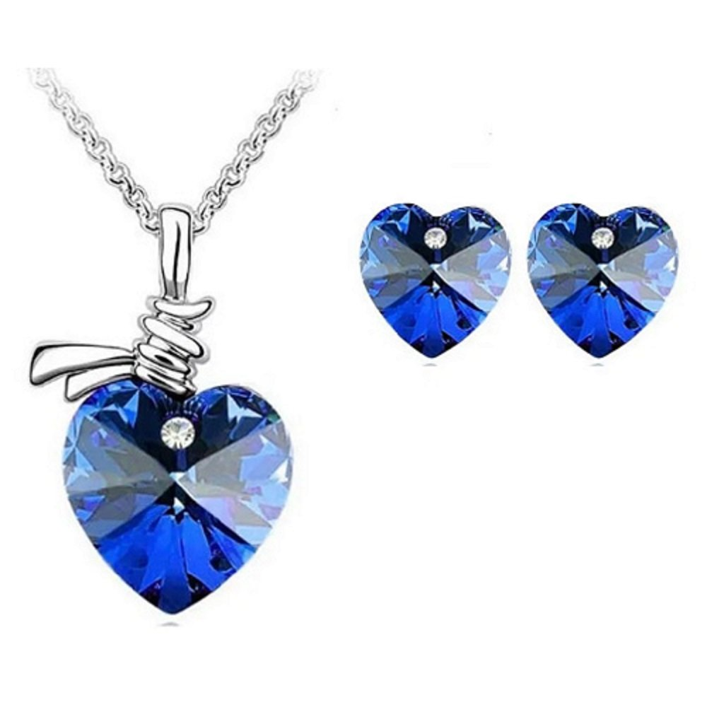 Silver Deep Blue Austrian Crystal Heart Pendant Necklace and Earrings Set